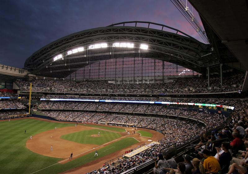 Somebody at Miller Park neglected to check the weather in Milwaukee on Tuesday. (Getty)