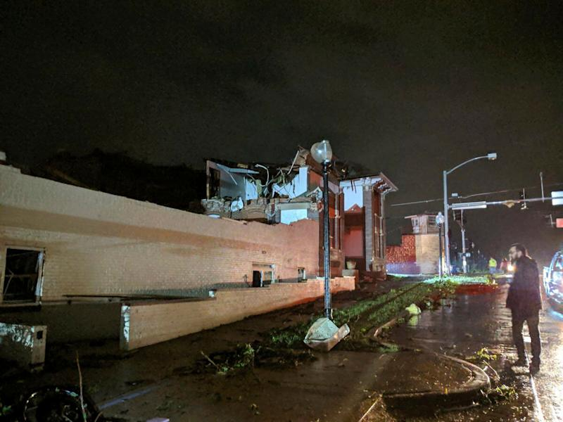 This image posted on Twitter account of Stechshultsy shows tornado-hit Jefferson City. Mo., on May 23, 2019. (Photo: Stechshultsy via AP)