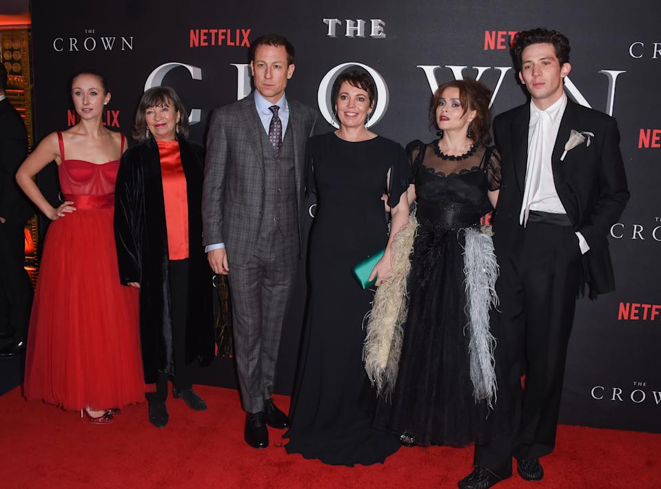 "LONDON, ENGLAND - NOVEMBER 13: (L-R) Erin Doherty, Marion Bailey, Tobias Menzies, Olivia Colman, Helena Bonham Carter and Josh O'Connor attend the World Premiere of Netflix Original Series ""The Crown"" Season 3 at The Curzon Mayfair on November 13, 2019 in London, England. (Photo by David M. Benett/Dave Benett/WireImage)"