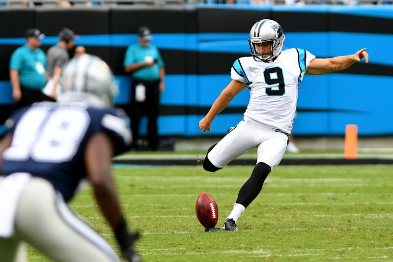 CHARLOTTE, NC - SEPTEMBER 09: Carolina Panthers kicker Graham Gano (9) kicks off after a touchdown by Carolina Panthers quarterback Cam Newton (1) in the first half on September 09, 2018 at Bank of America Stadium in Charlotte,NC. (Photo by Dannie Walls/Icon Sportswire via Getty Images)
