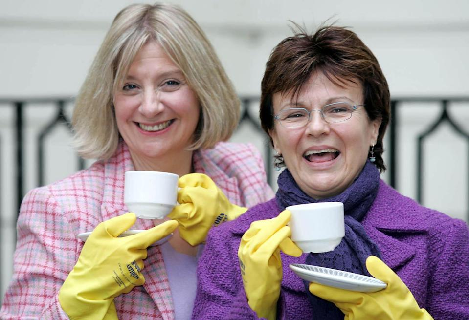 Victoria Wood (left) and Julie Walters pose for photographers during a photocall outside the Theatre Royal, Haymarket in London. The pair are discussing plans for their forthcoming musical based on Victoria's award-winning BBC sitcom 'Acorn Antiques'. Production is expected to enter the West End next year.   (Photo by Peter Jordan - PA Images/PA Images via Getty Images)