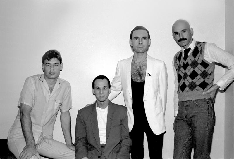 Portrait of the band King Crimson, left to right, Bill Bruford, Adrian Belew, Robert Fripp, and Tony Levin at the Park West in Chicago, Illinois, November 10, 1981. (Photo by Paul Natkin/Getty Images)