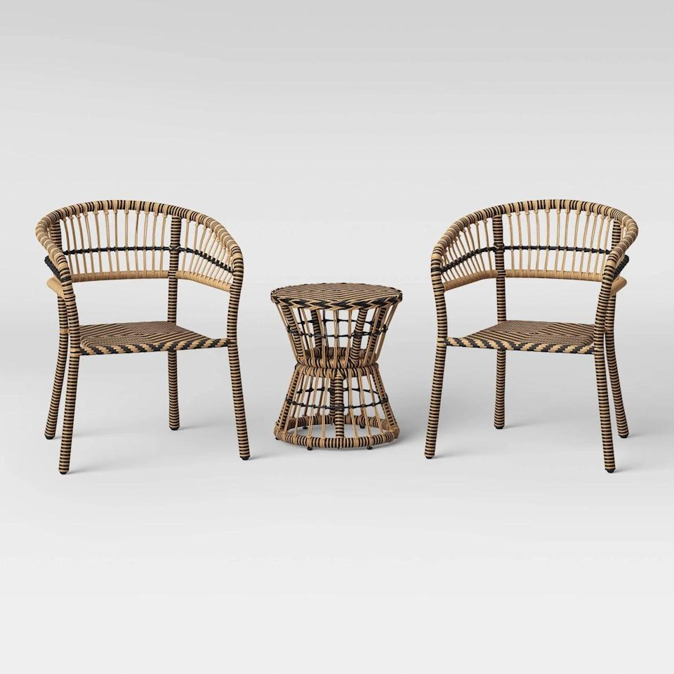 <p>The natural-toned <span>Opalhouse Aster 3pc Patio Chat Set</span> ($260, originally $325) is lightweight and perfect for smaller spaces with a lot of greenery.</p>