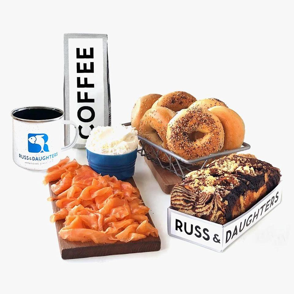"<p><strong>Russ & Daughters</strong></p><p>goldbelly.com</p><p><strong>$179.00</strong></p><p><a href=""https://go.redirectingat.com?id=74968X1596630&url=https%3A%2F%2Fwww.goldbelly.com%2Fruss-and-daughters%2F18810-new-york-brunch&sref=https%3A%2F%2Fwww.redbookmag.com%2Flife%2Fg34858754%2Fcreative-hanukkah-gifts-ideas%2F"" rel=""nofollow noopener"" target=""_blank"" data-ylk=""slk:Shop Now"" class=""link rapid-noclick-resp"">Shop Now</a></p><p>If they prefer the real thing (who wouldn't?), <a href=""https://www.bestproducts.com/eats/food/g2079/tasty-food-gifts-for-foodies/"" rel=""nofollow noopener"" target=""_blank"" data-ylk=""slk:get them a munchable gift"" class=""link rapid-noclick-resp"">get them a munchable gift</a> that'll bring the whole family together! </p><p>This all-in-one feast features everything they need to host a holiday brunch, including Gaspe smoked salmon, cream cheese, six assorted New York bagels, a chocolate babka, and custom roast coffee beans. It's shipped overnight, so everything arrives fresh and tasty.</p>"