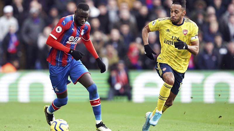 Arsenal's Pierre-Emerick Aubameyang (R) scored before being sent off against Crystal Palace