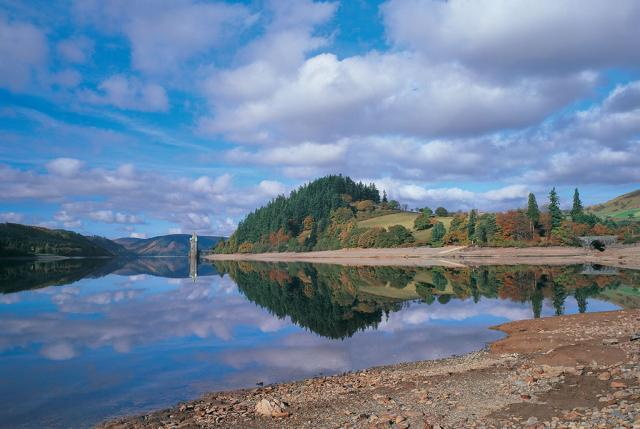 The scenic Lake Vyrnwy in Powys county, Wales. The reservoir was formed when a stone-built dam, the first of its kind in the world, was built over the lake in the 1880s.