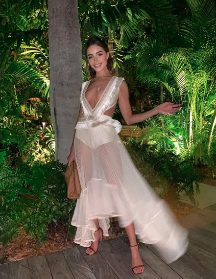 Olivia Culpo in a sheer dress