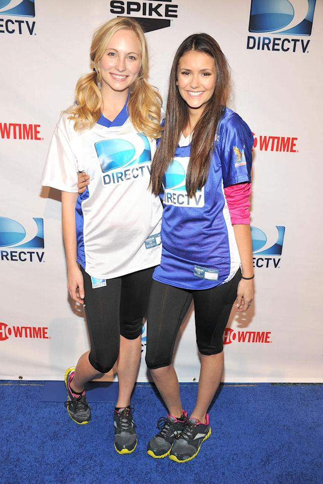 INDIANAPOLIS, IN - FEBRUARY 04: Actresses Candice Accola (L) and Nina Dobrev attend DIRECTV's Sixth Annual Celebrity Beach Bowl Game at Victory Field on February 4, 2012 in Indianapolis, Indiana. (Photo by Theo Wargo/Getty Images for DirecTV)