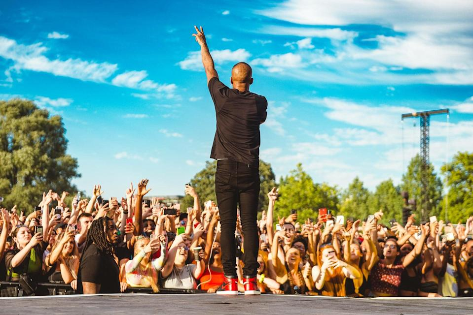 <p>Throw your hands up: Wireless still has a handful of wristbands going</p> (James Bridle)