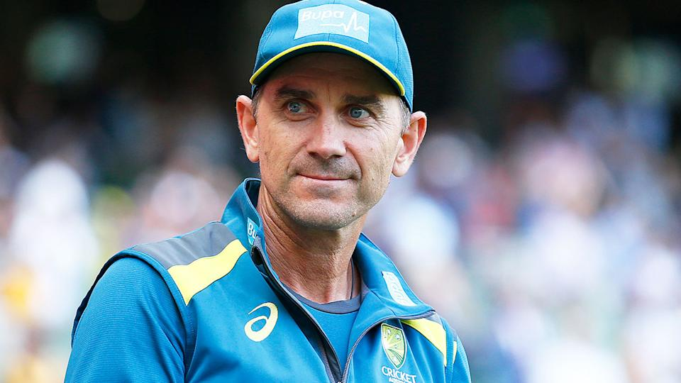 Australia cricket coach Justin Langer is pictured here during a training session with the national side.