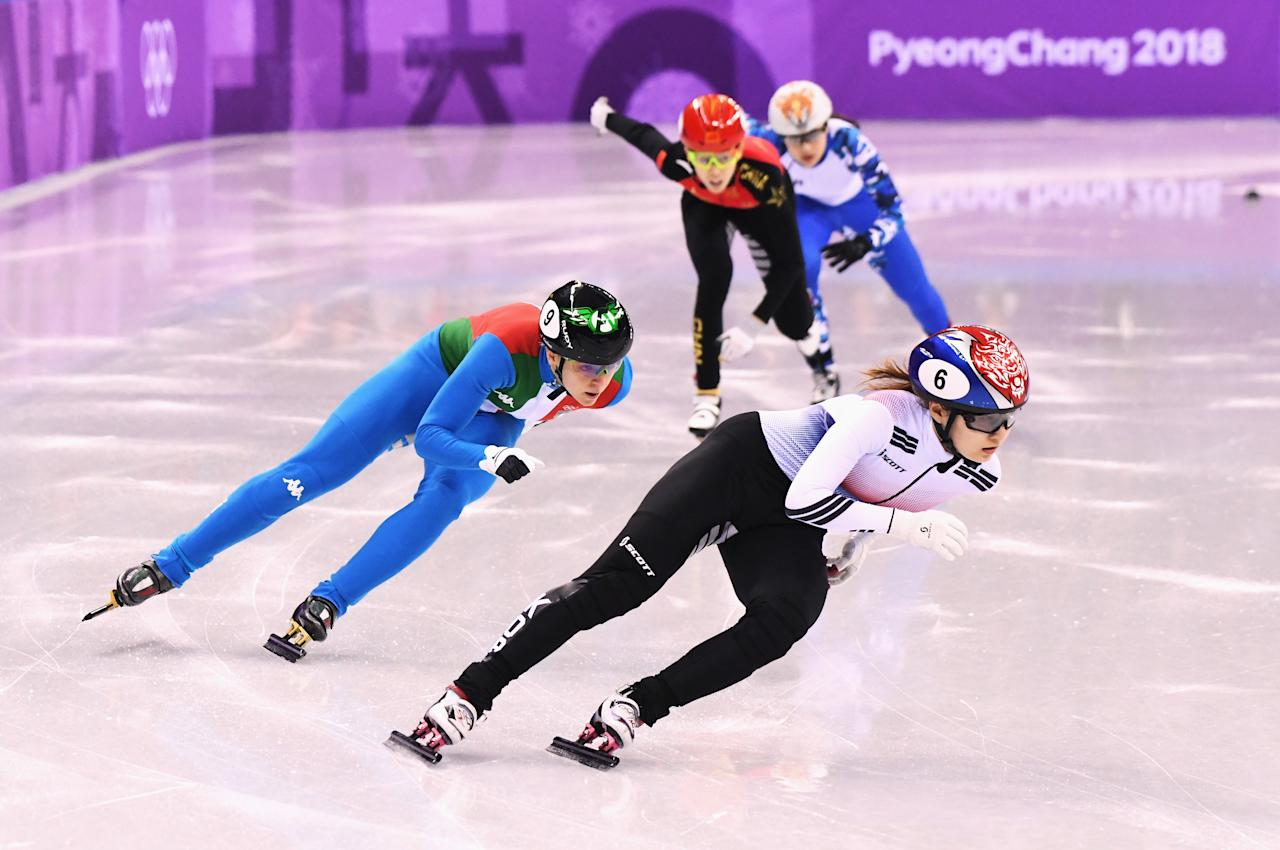 <p>Minjeong Choi of Korea, Arianna Fontana of Italy, Kexin Fan of China, Sofia Prosvirnova of Olympic Athlete from Russia compete during the Ladies' 500m Short Track Speed Skating semifinal on day four of the PyeongChang 2018 Winter Olympic Games at Gangneung Ice Arena on February 13, 2018 in Gangneung, South Korea. (Photo by Harry How/Getty Images) </p>