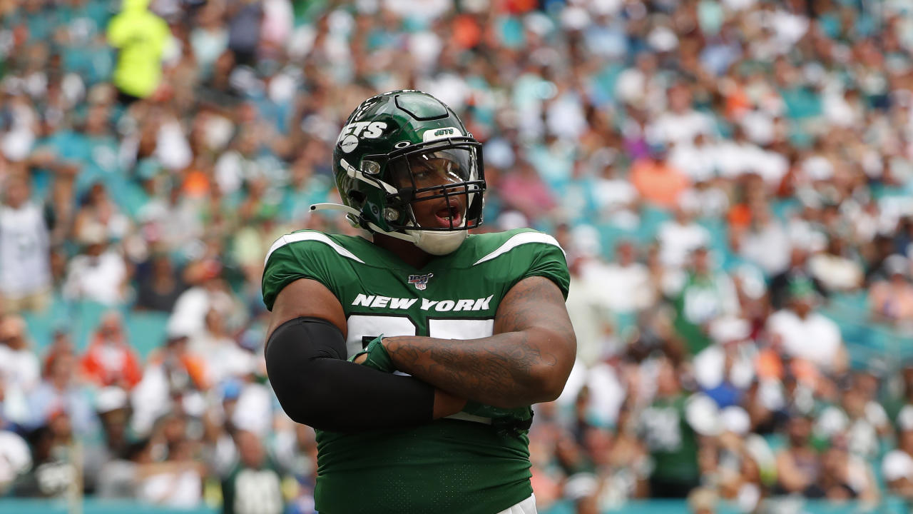 New York Jets defensive tackle Quinnen Williams (95) in action during the first half of an NFL football game against the Miami Dolphins, Sunday, Nov. 3, 2019, in Miami Gardens, Fla. (AP Photo/Wilfredo Lee)