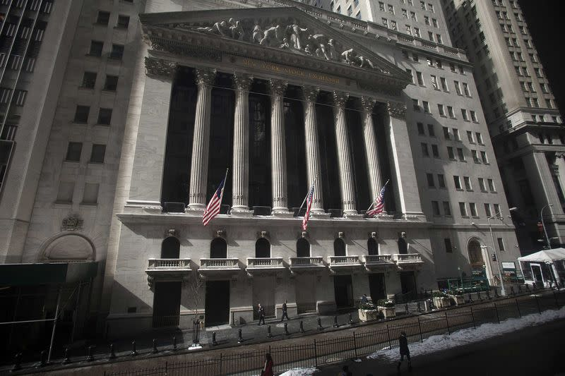 The exterior of the New York Stock Exchange is pictured in the Manhattan borough of New York