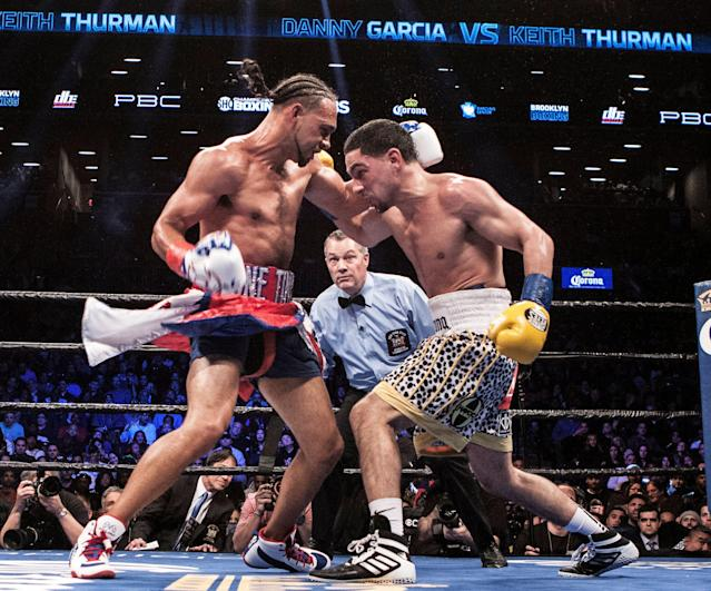 Keith Thurman (L) defeated Danny Garcia by split decision in their WBA/WBA welterweight unification fight at the Barclays Center on March 4, 2017. (Getty Images)