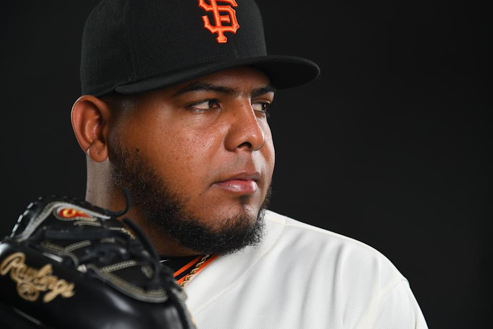SCOTTSDALE, AZ - FEBRUARY 21: Reyes Moronta #54 of the San Francisco Giants poses during the Giants Photo Day on February 21, 2019 in Scottsdale, Arizona. (Photo by Jamie Schwaberow/Getty Images)