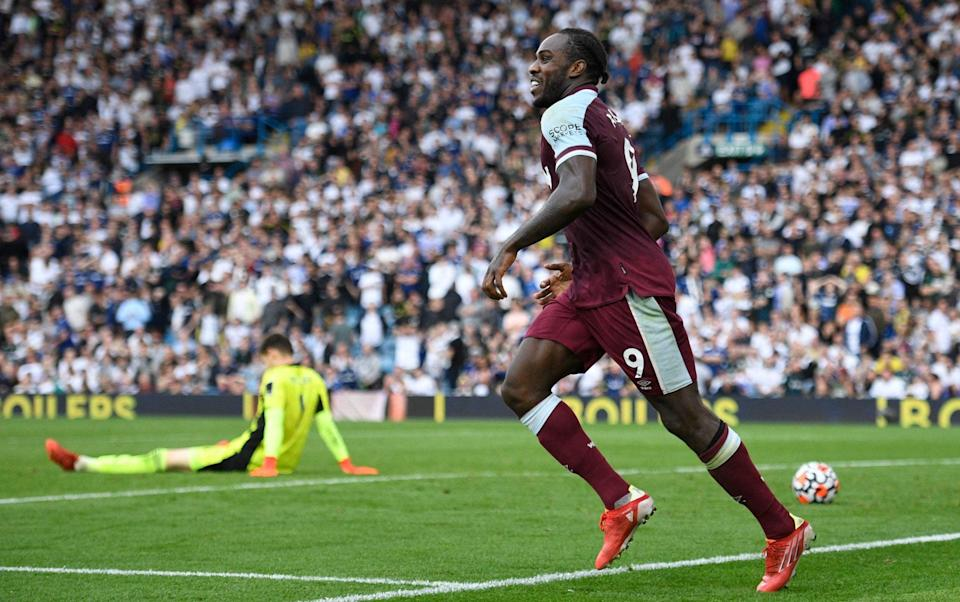 West Ham United's English midfielder Michail Antonio celebrates after he scores his team's second goal during the English Premier League football match between Leeds United and West Ham United at Elland Road in Leeds, northern England on September 25, 2021. - GETTY IMAGES