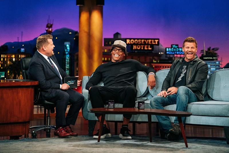 Cam Newton with James Corden and David Boreanaz | Terence Patrick/CBS