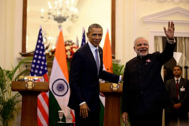 PHOTO: Prime Minister Narendra Modi and President Barack Obama during a meeting at Hyderabad House, Jan. 25, 2015, in New Delhi, India. (Mint/Hindustan Times via Getty Images, FILE)