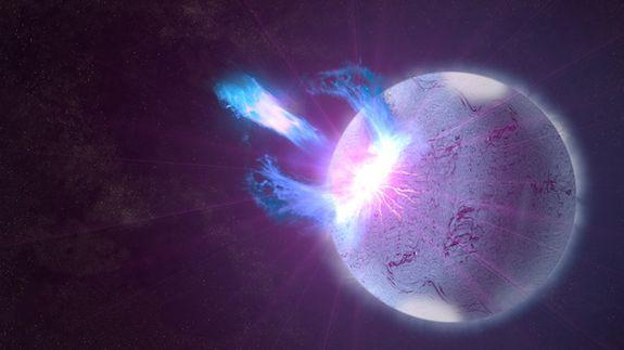 An artist's conception of a type of neutron star called a magnetar.