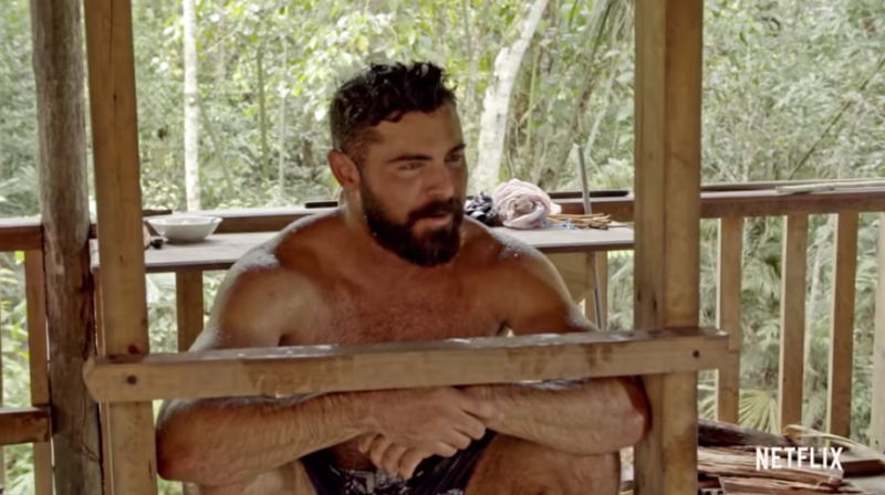 Zac Efron has debuted a more mature look in his new documentary series, Down To Earth. Photo: Netflix.