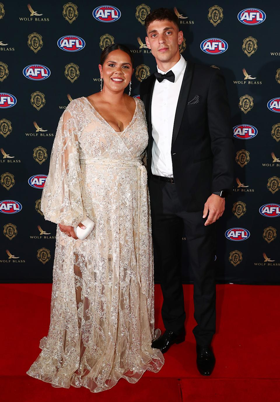 Sean Lemmens and Trischaye Newchurch at the Brownlow Medal 2021