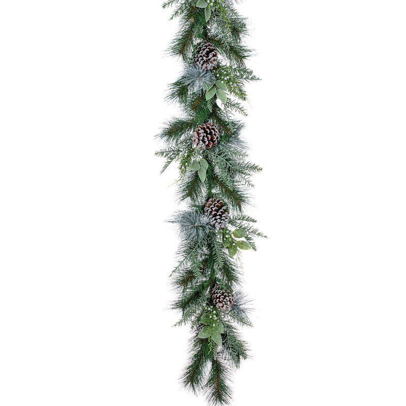 """Get this pine garland at <a href=""""https://www.wayfair.com/The-Holiday-Aisle-Frosted-Noble-Fir-Pine-Garland-THDA3377.html?ds=105790&group_id=1800"""" target=""""_blank"""">Wayfair</a>."""