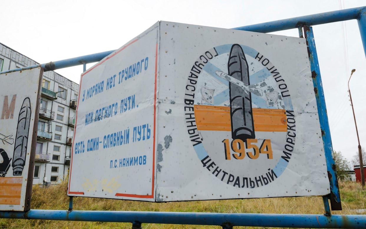A view shows a board on a street of the military garrison located near the village of Nyonoksa in Arkhangelsk Region - REUTERS