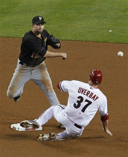Pittsburgh Pirates' Neil Walker throws to first after forcing out Arizona Diamondbacks' Lyle Overbay (37) during the fourth inning of a baseball game Tuesday, April 17, 2012, in Phoenix. Aaron Hill was out at first. (AP Photo/Ross D. Franklin)