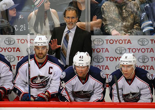 "WINNIPEG, MB – DECEMBER 29: Head Coach John Tortorella of the <a class=""link rapid-noclick-resp"" href=""/nhl/teams/cob/"" data-ylk=""slk:Columbus Blue Jackets"">Columbus Blue Jackets</a> looks on from the bench during third period action against the <a class=""link rapid-noclick-resp"" href=""/nhl/teams/wpg/"" data-ylk=""slk:Winnipeg Jets"">Winnipeg Jets</a> at the MTS Centre on December 29, 2016 in Winnipeg, Manitoba, Canada. (Photo by Jonathan Kozub/NHLI via Getty Images)"