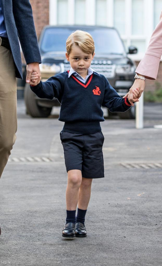 <p>Thousands tuned in to watch little George arrive for his first day at school. And who couldn't relate to his sheepishness? Hand-in-hand with his dad, Prince George made his way to Thomas's Battersea School in his brand new uniform. <em>[Photo: Getty]</em> </p>