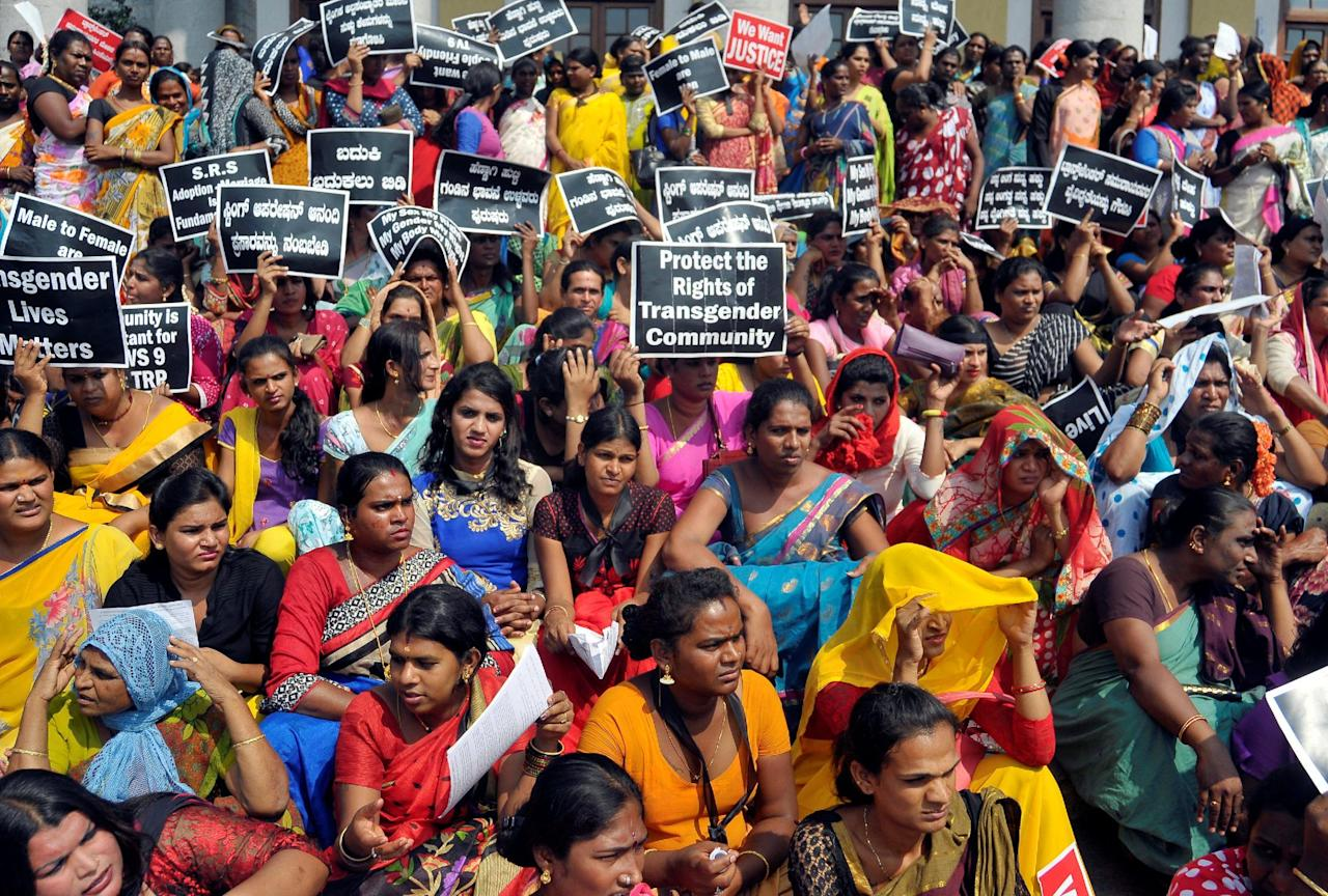 Participants hold placards during a protest demanding an end to what they say is discrimination and violence against the transgender community, in Bengaluru, India October 21, 2016. REUTERS/Abhishek N. Chinnappa