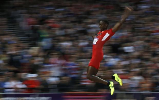 Will Claye of the U.S. competes in the men's long jump final during the London 2012 Olympic Games at the Olympic Stadium August 4, 2012.