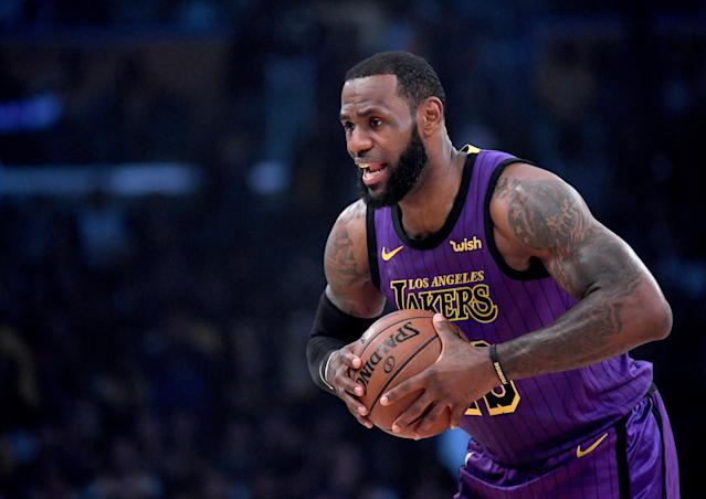 LeBron James exited the Lakers' game with 17 points, 13 rebounds and five assists. (Getty Images)