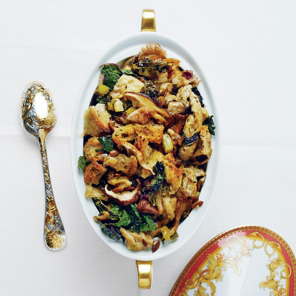 """Go beyond boring stuffing this year with this mushroomy sage-laced dish. Feel free to swap in veggie stock to make this a totally meatless option. <a href=""""https://www.epicurious.com/recipes/food/views/rye-kale-mushroom-and-pumpkin-seed-stuffing-51255160?mbid=synd_yahoo_rss"""">See recipe.</a>"""