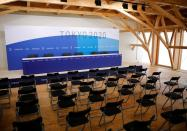 A news conference room is pictured at the village plaza of the Tokyo 2020 Olympic and Paralympic Village in Tokyo