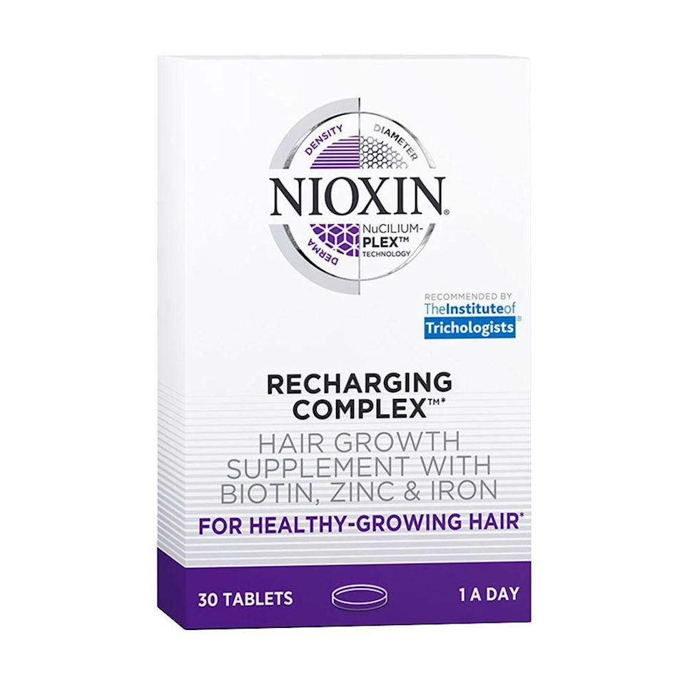 """<p><strong>Nioxin</strong></p><p>ulta.com</p><p><strong>$39.00</strong></p><p><a href=""""https://go.redirectingat.com?id=74968X1596630&url=https%3A%2F%2Fwww.ulta.com%2Frecharging-complex-hair-growth-supplement%3FproductId%3DxlsImpprod18751063&sref=https%3A%2F%2Fwww.bestproducts.com%2Fbeauty%2Fg912%2Fhair-growth-products-supplements%2F"""" rel=""""nofollow noopener"""" target=""""_blank"""" data-ylk=""""slk:Shop Now"""" class=""""link rapid-noclick-resp"""">Shop Now</a></p><p>Nioxin, a longtime favorite of ours for shampoos and topical treatments to boost hair growth, recently launched these supplements to complement the brand's stellar line of products.</p><p>Formulated with biotin, zinc, and iron, this pill features everything you need to encourage healthy-growing hair. </p>"""