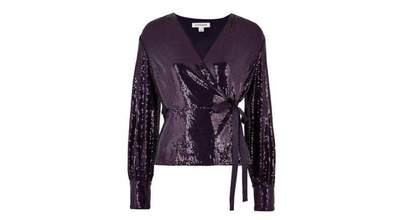 Sequin V Neck Long Sleeve Wrap Top
