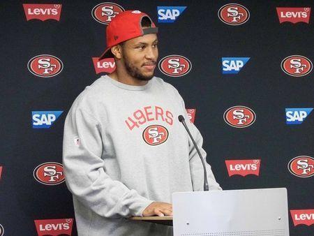 FILE PHOTO: Jul 28, 2017; Santa Clara, CA, USA; San Francisco 49ers outside linebacker Malcolm Smith (51) speaks to the media during a press conference after training camp at Levi's Stadium. Mandatory Credit: Stan Szeto-USA TODAY Sports