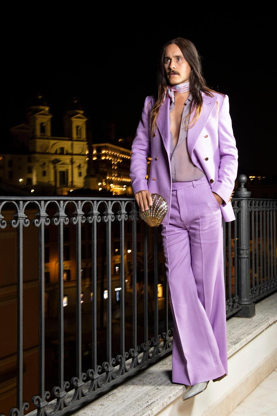 Leto's lately been seen in Milan, palling around with Gucci designer Alessandro Michele and acting in the forthcoming <em>House of Gucci</em>. You expected anything different?