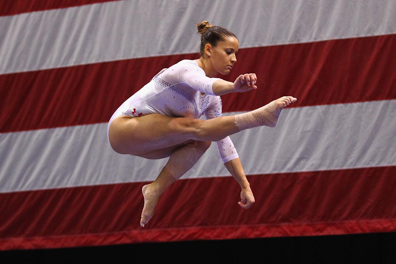 ST. LOUIS, MO - JUNE 10: Alicia Sacramone competes on the beam during the Senior Women's competition on day four of the Visa Championships at Chaifetz Arena on June 10, 2012 in St. Louis, Missouri.  (Photo by Dilip Vishwanat/Getty Images)