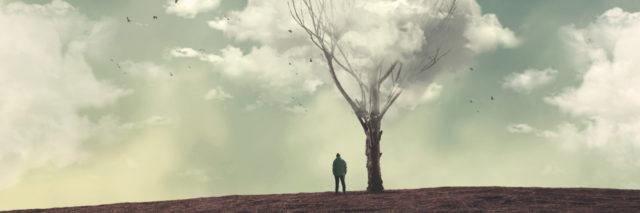 Man standing near bare tree with clouds overhead.