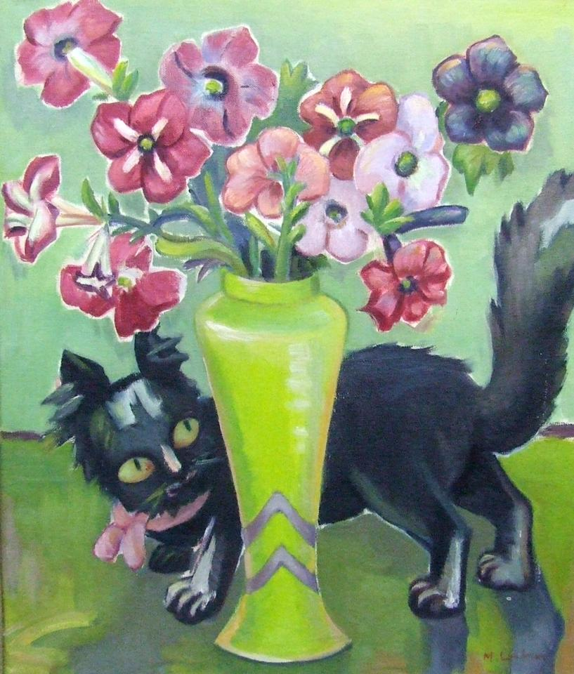 """This undated photo provided by The City of Tshwane on Monday, Nov. 12, 2012, shows a 1936 Maggie Laubser """"Cat and Petunias"""" oil on canvas. Police in South Africa said Monday that robbers posing as visitors to an art museum stole more than $2 million worth of art including """"Cat and Petunias"""" from an exhibit near the country's capital. (AP Photo/The City of Tshwane)"""