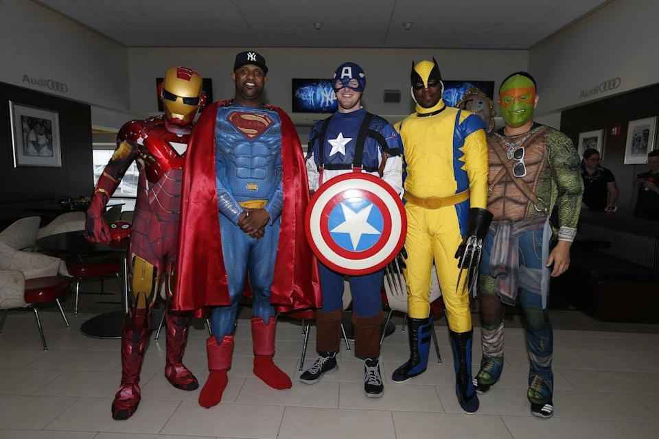 Yankees players (from left) Luis Severino, C.C. Sabathia, Jordan Montgomery, Michael Pineda, and Masahiro Tanaka in their superhero costumes. (Twitter/@Yankees)