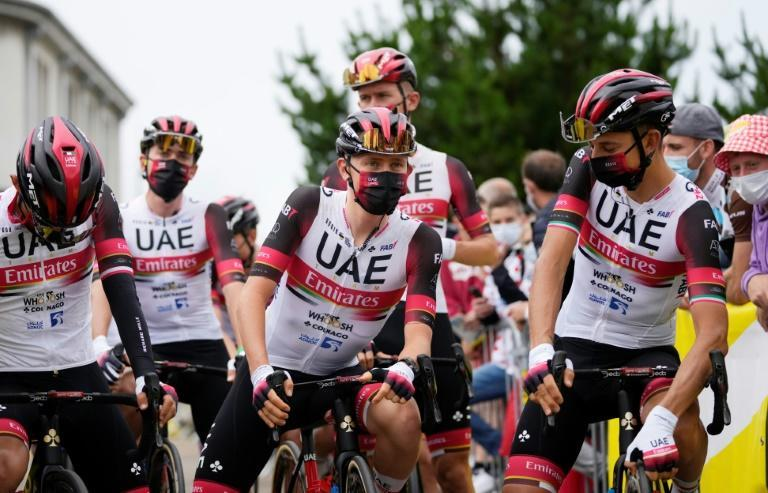 Tadej Pogacar and his teammates ahead of Saturday's opening stage