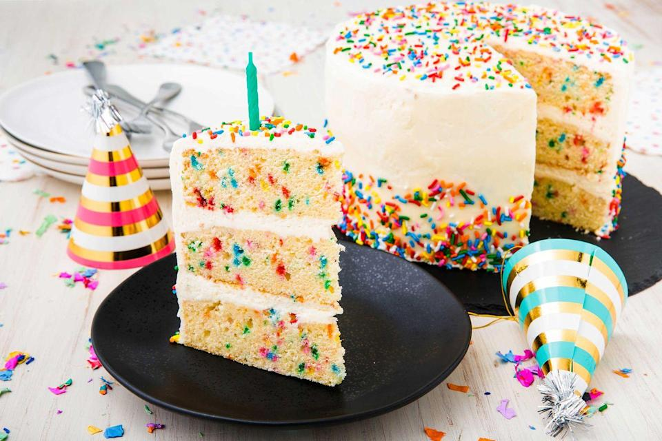 """<p>Best cake flavor. Hands down.</p><p>Get the recipe from <a href=""""https://www.delish.com/cooking/recipe-ideas/a23120595/funfetti-cake-birthday-cake-recipe/"""" rel=""""nofollow noopener"""" target=""""_blank"""" data-ylk=""""slk:Delish"""" class=""""link rapid-noclick-resp"""">Delish</a>.</p>"""