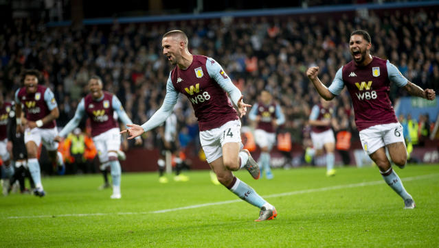 Hourihane puts Villa in front (Photo by Neville Williams/Aston Villa FC via Getty Images)