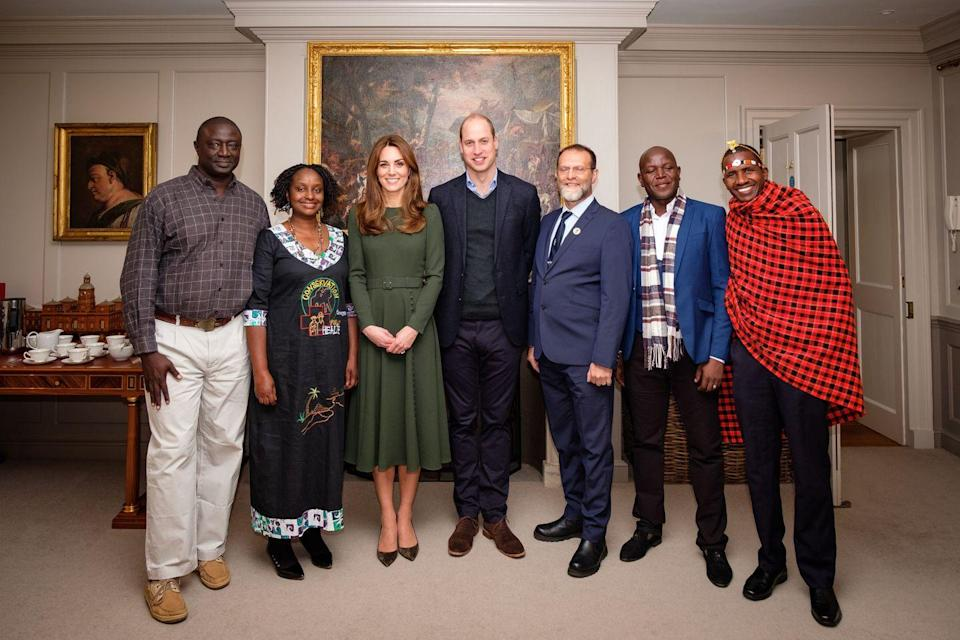 <p>The Duchess had to back out of an appearance at the Tusk Awards last-minute, but Kensington Royal noted on Twitter that she'd been able to meet with the nominees and winners. Kate chose a belted green dress from Beulah and heels for the private event.</p>