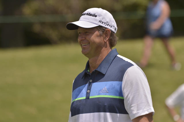 Retief Goosen walks along the first hole during the final round of the St. Jude Classic golf tournament Sunday, June 11, 2017, in Memphis, Tenn. (AP Photo/Brandon Dill)