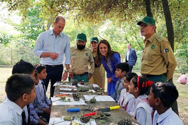 PHOTO: Britain's Prince William and Catherine, Duchess of Cambridge talk with local schoolchildren during a visit to the Margalla Hills in Islamabad, Oct. 15, 2019. (Owen Humphreys/Pool via Reuters)