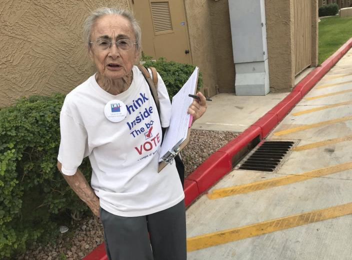"""<span class=""""caption"""">Rivko Knox, a volunteer with the League of Women Voters in Phoenix, and other voters sued Arizona over a law that bans the third-party collection of early mail-in ballots. The issue is now before the Supreme Court.</span> <span class=""""attribution""""><a class=""""link rapid-noclick-resp"""" href=""""https://newsroom.ap.org/detail/BallotCollectionChallenge/be2b2ea6ab874308b92e03d3153438ca/photo?Query=ballot%20collection%20Arizona&mediaType=photo&sortBy=arrivaldatetime:desc&dateRange=Anytime&totalCount=9&currentItemNo=1"""" rel=""""nofollow noopener"""" target=""""_blank"""" data-ylk=""""slk:AP Photo/Anita Snow"""">AP Photo/Anita Snow</a></span>"""